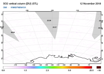 OMI - SO2 vertical column of 12 November 2018