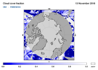 OMI - Cloud cover fraction of 13 November 2018