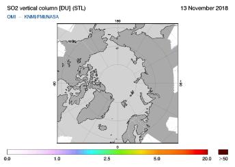OMI - SO2 vertical column of 13 November 2018