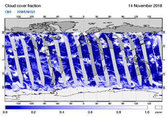 OMI - Cloud cover fraction of 14 November 2018