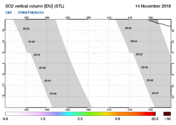 OMI - SO2 vertical column of 14 November 2018