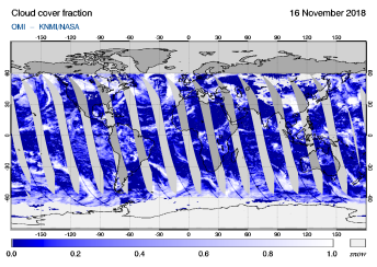 OMI - Cloud cover fraction of 16 November 2018