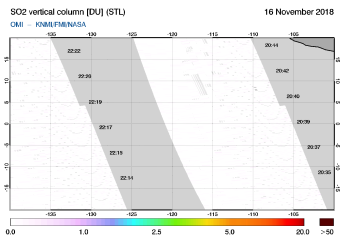 OMI - SO2 vertical column of 16 November 2018