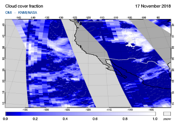 OMI - Cloud cover fraction of 17 November 2018
