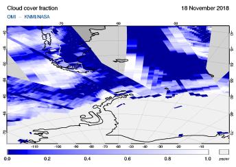 OMI - Cloud cover fraction of 18 November 2018