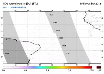 OMI - SO2 vertical column of 18 November 2018