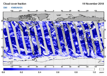 OMI - Cloud cover fraction of 19 November 2018