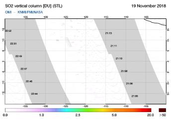 OMI - SO2 vertical column of 19 November 2018