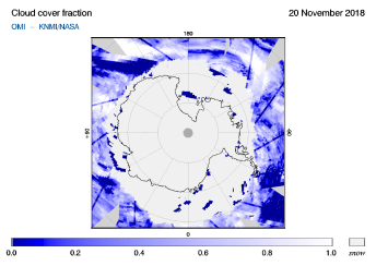 OMI - Cloud cover fraction of 20 November 2018