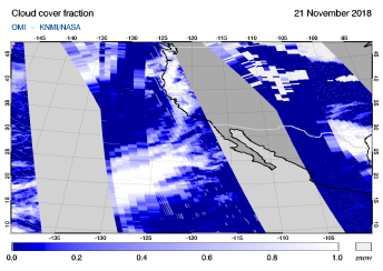 OMI - Cloud cover fraction of 21 November 2018