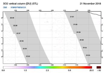 OMI - SO2 vertical column of 21 November 2018