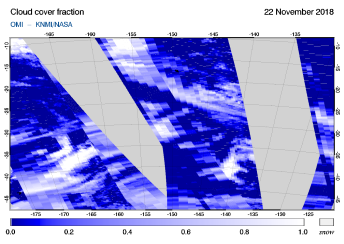 OMI - Cloud cover fraction of 22 November 2018