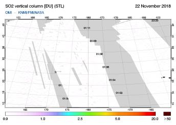 OMI - SO2 vertical column of 22 November 2018