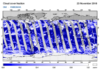 OMI - Cloud cover fraction of 23 November 2018