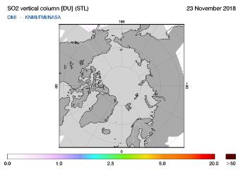 OMI - SO2 vertical column of 23 November 2018