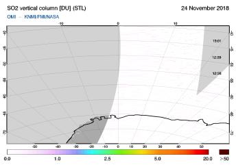 OMI - SO2 vertical column of 24 November 2018