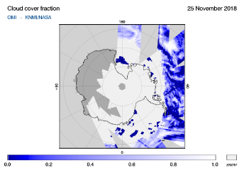 OMI - Cloud cover fraction of 25 November 2018