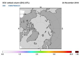 OMI - SO2 vertical column of 25 November 2018