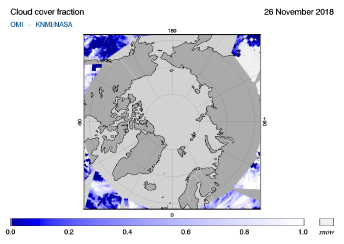 OMI - Cloud cover fraction of 26 November 2018
