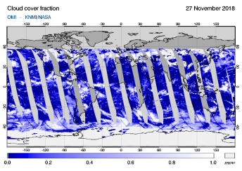OMI - Cloud cover fraction of 27 November 2018