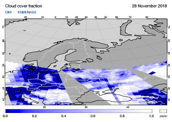 OMI - Cloud cover fraction of 28 November 2018