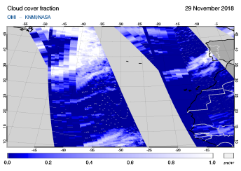 OMI - Cloud cover fraction of 29 November 2018