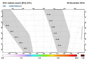 OMI - SO2 vertical column of 29 November 2018