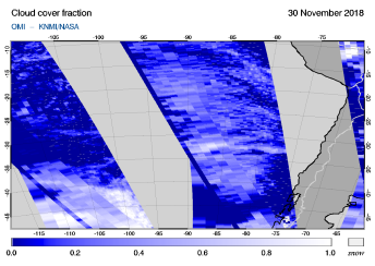 OMI - Cloud cover fraction of 30 November 2018