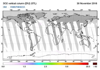 OMI - SO2 vertical column of 30 November 2018