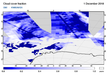 OMI - Cloud cover fraction of 01 December 2018