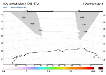 OMI - SO2 vertical column of 01 December 2018