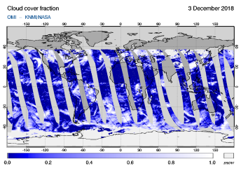 OMI - Cloud cover fraction of 03 December 2018