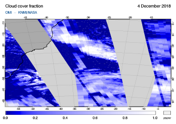 OMI - Cloud cover fraction of 04 December 2018