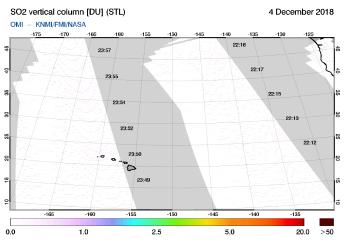 OMI - SO2 vertical column of 04 December 2018