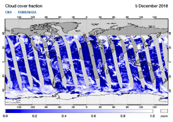 OMI - Cloud cover fraction of 05 December 2018