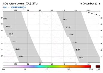 OMI - SO2 vertical column of 05 December 2018