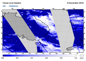OMI - Cloud cover fraction of 08 December 2018