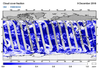 OMI - Cloud cover fraction of 09 December 2018
