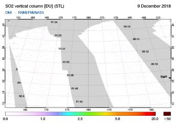 OMI - SO2 vertical column of 09 December 2018
