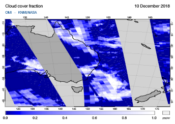 OMI - Cloud cover fraction of 10 December 2018
