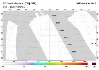 OMI - SO2 vertical column of 10 December 2018