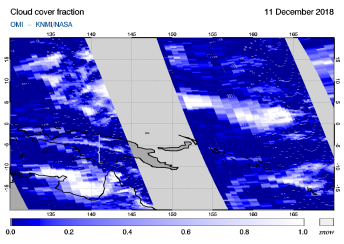 OMI - Cloud cover fraction of 11 December 2018