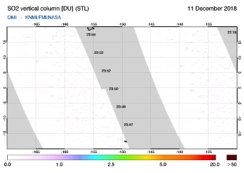OMI - SO2 vertical column of 11 December 2018