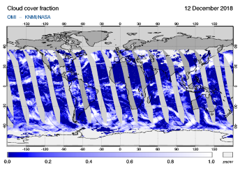 OMI - Cloud cover fraction of 12 December 2018