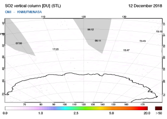 OMI - SO2 vertical column of 12 December 2018