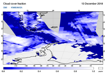 OMI - Cloud cover fraction of 13 December 2018