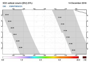 OMI - SO2 vertical column of 14 December 2018