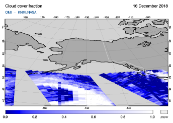 OMI - Cloud cover fraction of 16 December 2018
