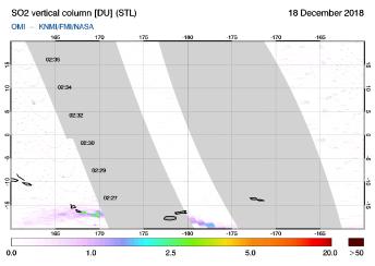 OMI - SO2 vertical column of 18 December 2018