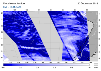 OMI - Cloud cover fraction of 20 December 2018